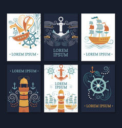 Ollection of marine cards vector