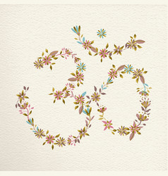 Om symbol made of flowers for yoga vector