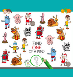 One of a kind game with cartoon characters vector