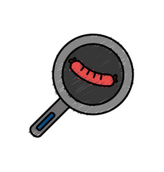 Pan with sausage icon vector