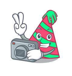 Photographer party hat mascot cartoon vector