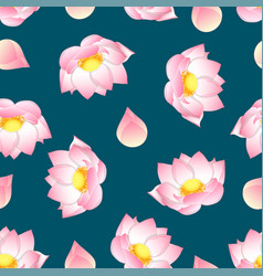 Pink indian lotus on green teal background vector