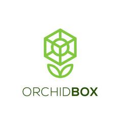 Plant leaf box orchid logo simple minimalist vector