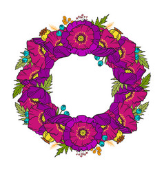 poppy wreath isolated on white vector image