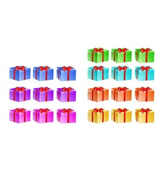 Presents with different color and rotation vector