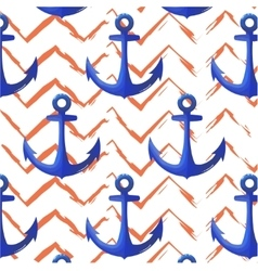 Print anchor blue navy pattern Chevron orange vector