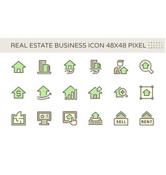 Real estate business icon set design 48x48 pixel vector