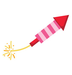 Red and pink striped firework rocket with a lit vector