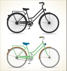 Retro vintage bicycle silhouette isolated on vector