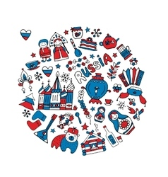 Russia icons collection Sketch for your design vector image