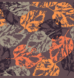 Seamless texture of leaves on dark background vector