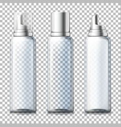set - 3d realistic transparent foam bottles vector image