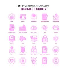 set of 25 feminish digital security flat color vector image