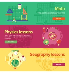 Set of flat design concepts for math physics vector