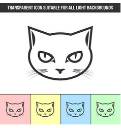 Simple outline transparent cat head icon vector