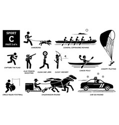 Sport games alphabet c icons pictograph canicross vector