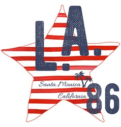 T-shirt typography design LA california santa vector image