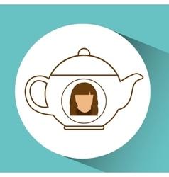 Tea pot coffee hot female blue background vector