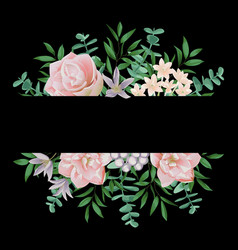 template with pink flowers vector image