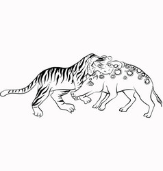 Tiger fight pig thai traditional painting vector