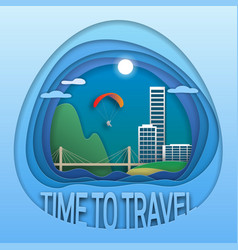 time to travel emblem sea resort town bridge vector image