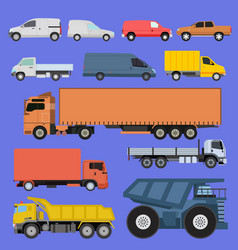 trucks icons set shipping cars vehicles vector image