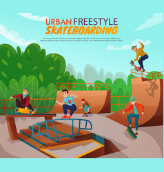 Urban skateboarding background vector