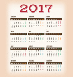 vintage design calendar for year 2017 vector image