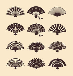 vintage elegant oriental fans set vector image