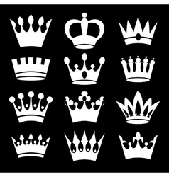 White crowns on black background vector