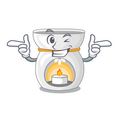 Wink therapy aroma lamp and candle character vector