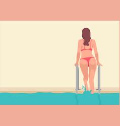 woman in bikini climbing out from swimming pool vector image