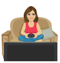 young woman playing video game at home vector image