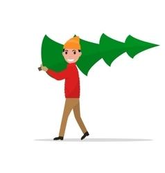cartoon man carries a Christmas tree vector image vector image