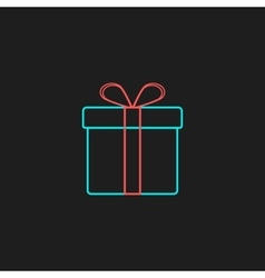 colored outline gift box on black background vector image