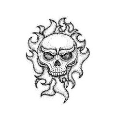 dotwork human skull with fire vector image vector image