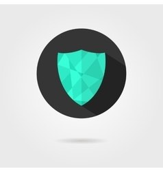 green shield icon on black circle with shadow vector image vector image