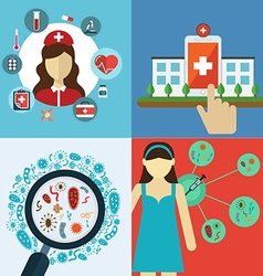 Medical flat banners set with health care and vector