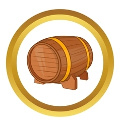 Wooden barrel of beer icon vector image