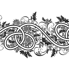 border with celtic ornament and flowers thistle vector image