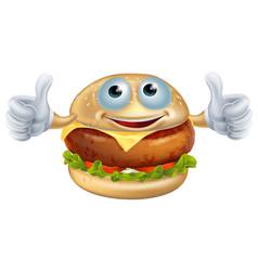 cartoon burger man vector image vector image