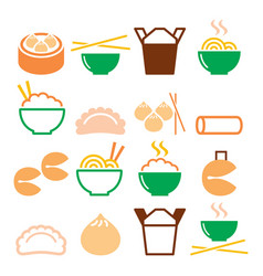 chinese take away food - pasta rice spring rolls vector image