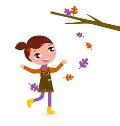 girl playing with leaves vector image vector image