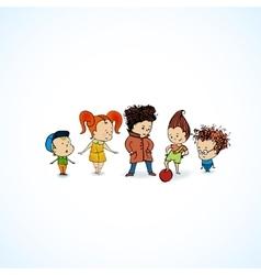 group children in line vector image vector image