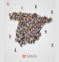 large group of people in form of spain map vector image