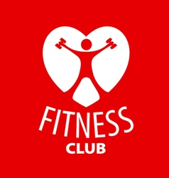 logo in the shape of a heart for a fitness club vector image
