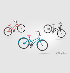 set realistic bicycles modern style ideal vector image vector image