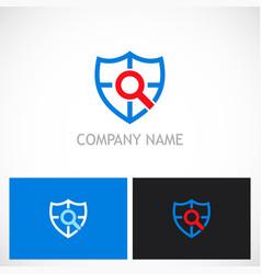 shield search guard technology logo vector image