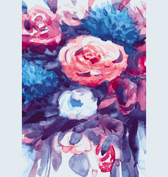 watercolors bouquet of multicolored flowers vector image vector image