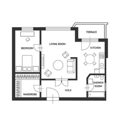 Architect plan with a furniture Flat vector image